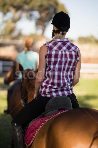 Stock fotó: Hátsó · nézet · nő · lovaglás · barát · ül · ló