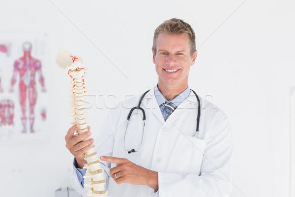Gelukkig arts tonen anatomisch wervelkolom kliniek Stockfoto © wavebreak_media