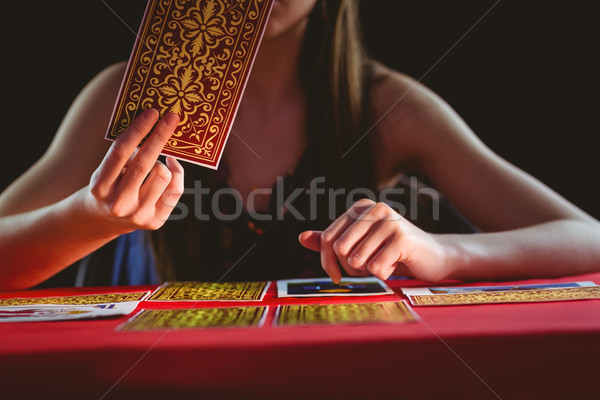 Таро карт черный женщину чтение Сток-фото © wavebreak_media