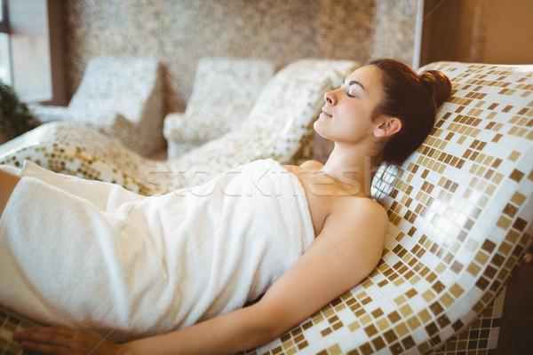 Kobieta relaks spa twarz hotel Zdjęcia stock © wavebreak_media
