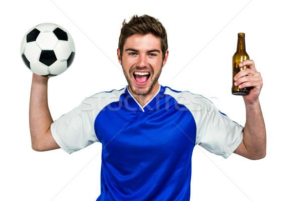 Portre heyecanlı adam futbol Stok fotoğraf © wavebreak_media