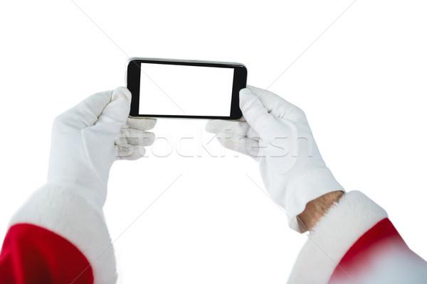 手 サンタクロース 携帯電話 白 電話 ストックフォト © wavebreak_media