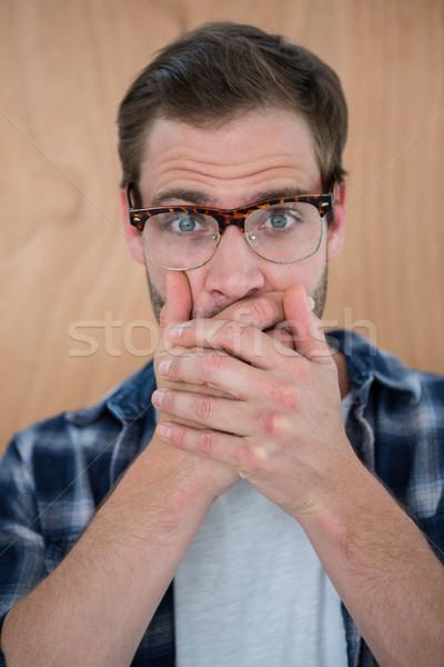 Jóképű hipszter meglepődött kezek száj fából készült Stock fotó © wavebreak_media