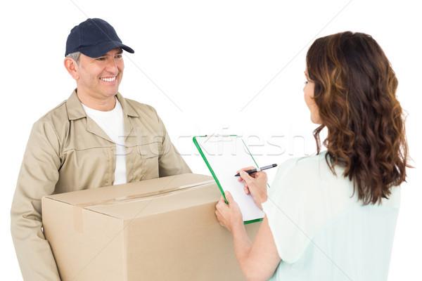 Felice pacchetto cliente bianco donna Foto d'archivio © wavebreak_media