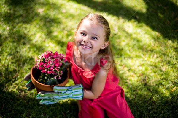 Portré mosolyog lány tart virágcserép magasról fotózva Stock fotó © wavebreak_media