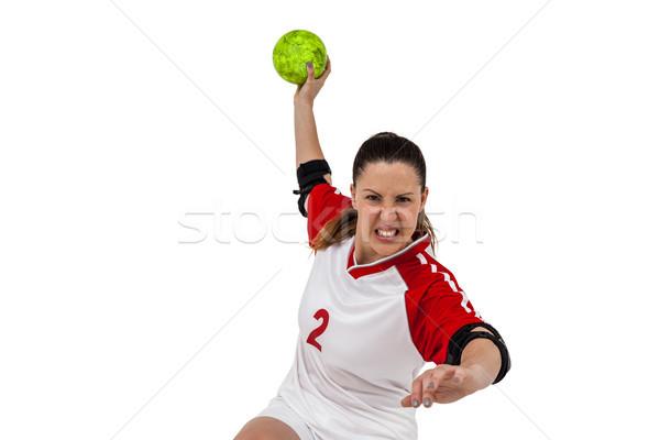 Sportswoman throwing a ball Stock photo © wavebreak_media