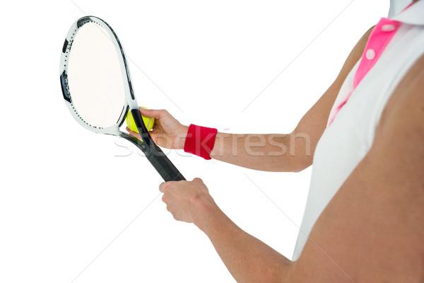 Atleet spelen tennisracket witte vrouw sport Stockfoto © wavebreak_media