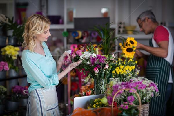 Su çiçekler gülen çiçekçi iş Stok fotoğraf © wavebreak_media