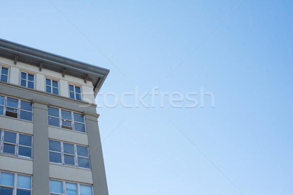 View edificio moderno cielo blu albero costruzione felice Foto d'archivio © wavebreak_media
