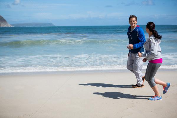 érett pár jogging tengerpart téli idény nő Stock fotó © wavebreak_media