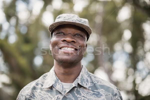 Glücklich militärischen Soldat Fleisch schwarz Stock foto © wavebreak_media