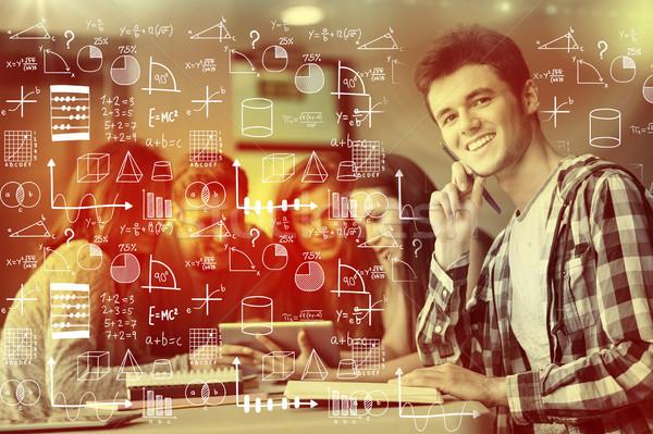 Bild Mathematik Mann glücklich Studenten Stock foto © wavebreak_media