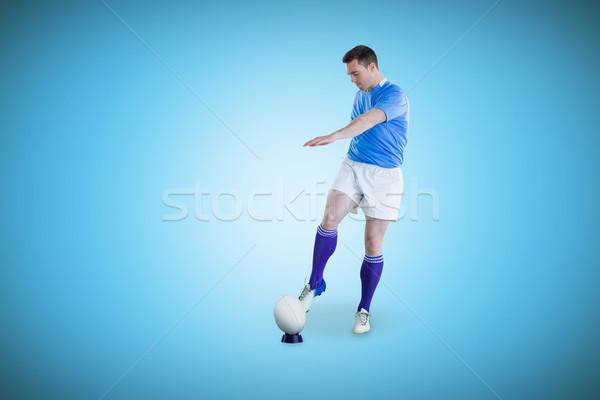 összetett kép rögbi játékos csepp rúgás Stock fotó © wavebreak_media