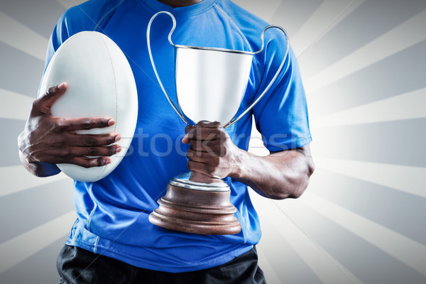 összetett kép középső rész sportoló tart trófea Stock fotó © wavebreak_media