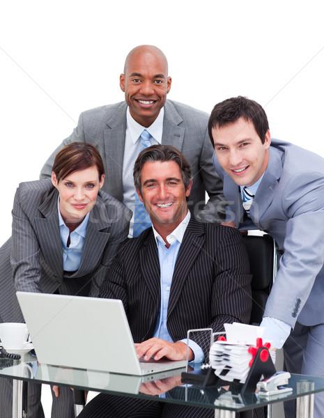 честолюбивый бизнес-команды рабочих компьютер белый клавиатура Сток-фото © wavebreak_media