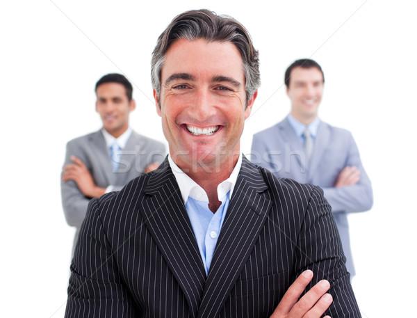 восторженный бизнесмен позируют команда улыбка счастливым Сток-фото © wavebreak_media