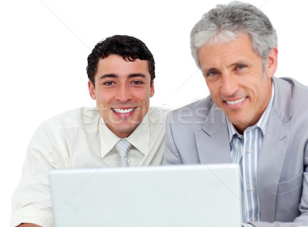 Stockfoto: Business · met · behulp · van · laptop · witte · laptop · toetsenbord