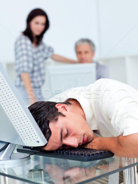 Stock photo: Tired businessman sleeping on his keyboard