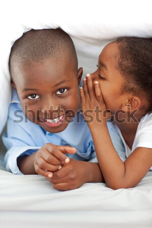 Cute little girl whispering something to her brother Stock photo © wavebreak_media