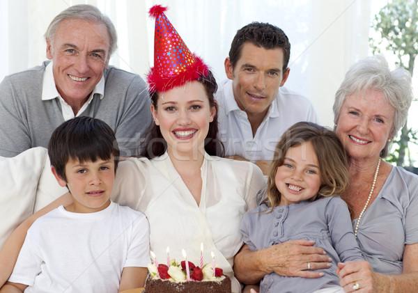 Avós pais crianças aniversário casa Foto stock © wavebreak_media