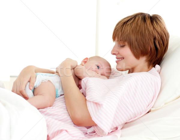 Patient and newborn baby in bed Stock photo © wavebreak_media