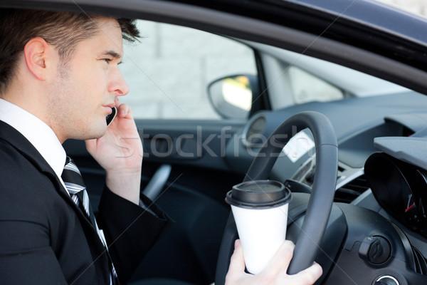 カリスマ的な ビジネスマン 話し 電話 車 笑顔 ストックフォト © wavebreak_media
