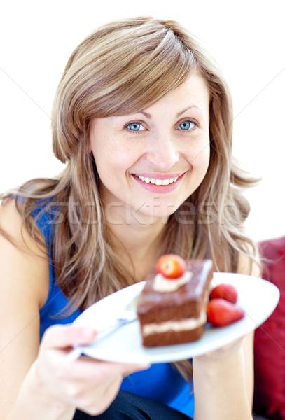 Sorrindo peça bolo de chocolate casa comida Foto stock © wavebreak_media
