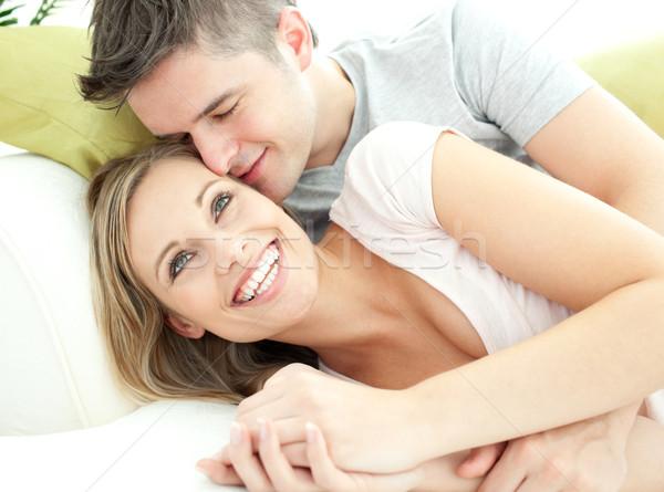 Cute amantes junto salón casa Foto stock © wavebreak_media