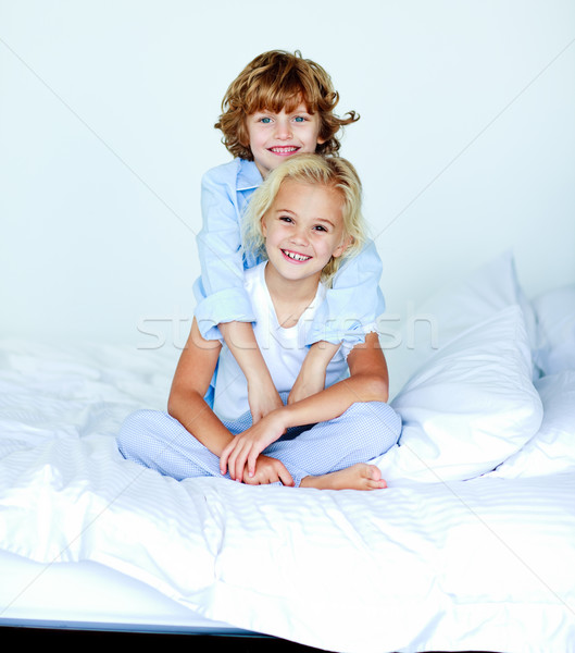 Broer bed witte vrouw familie Stockfoto © wavebreak_media