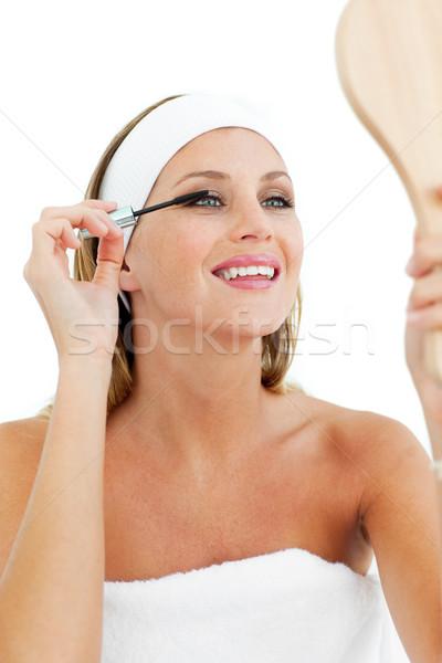 Glimlachende vrouw mascara witte vrouw meisje oog Stockfoto © wavebreak_media