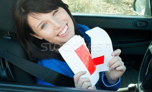 молодые женщины драйвера вверх знак Сток-фото © wavebreak_media