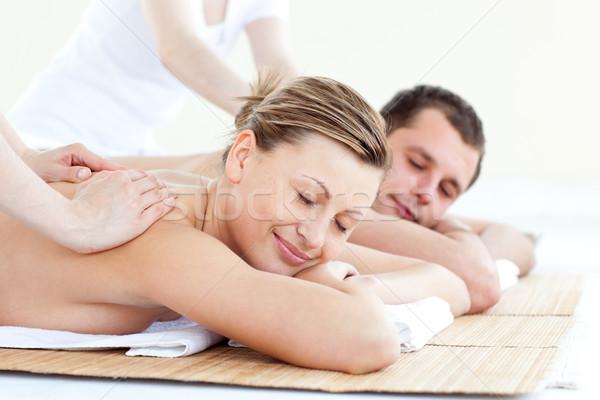 Afetuoso casal de volta massagem estância termal Foto stock © wavebreak_media