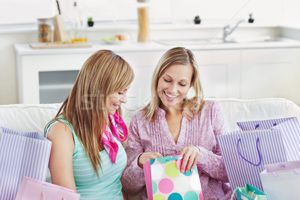 Delighted women with shopping bags at home Stock photo © wavebreak_media