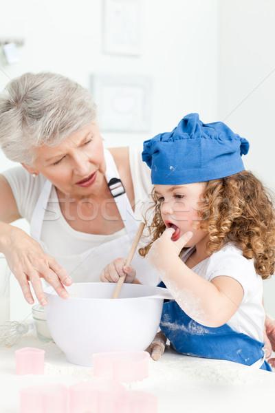 ストックフォト: 女の子 · 祖母 · ホーム · 家 · 少女