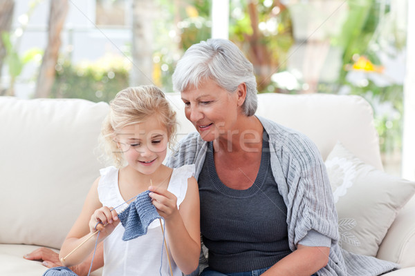 Foto stock: Senior · neta · casa · feliz · trabalhar