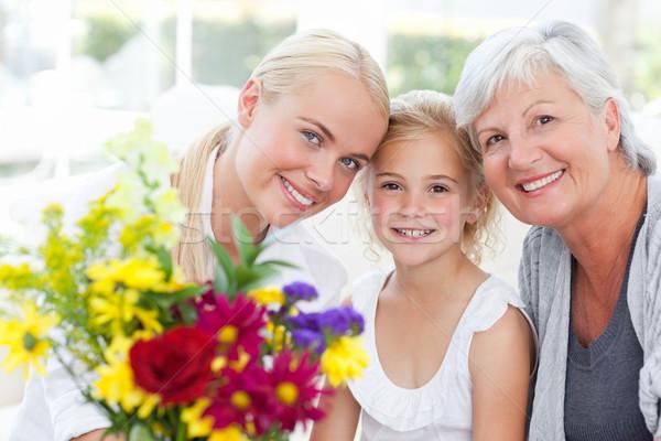 Familie Blumen home Frau Gesicht Schönheit Stock foto © wavebreak_media