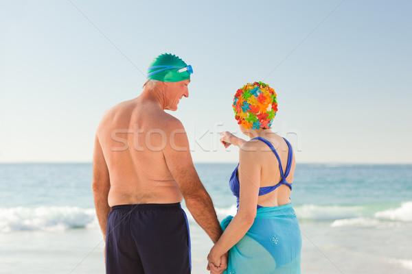 Aşık yaşlı çift plaj kadın kız Stok fotoğraf © wavebreak_media
