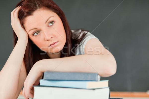 Közelkép gyönyörű unatkozik diák alkar könyvek Stock fotó © wavebreak_media