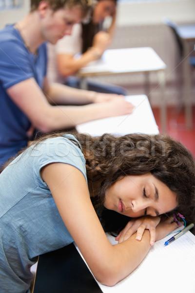 Portré diák alszik asztal osztályterem nő Stock fotó © wavebreak_media