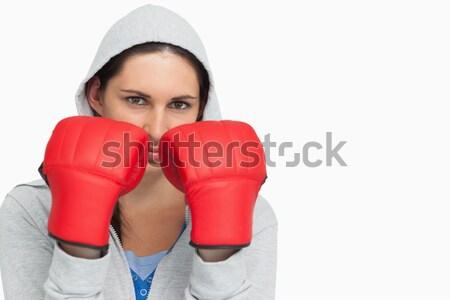 Kobiet bokser sweter biały sportu Zdjęcia stock © wavebreak_media