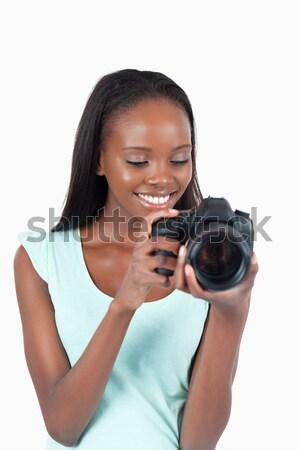 笑みを浮かべて 小さな カメラマン カメラ 白 少女 ストックフォト © wavebreak_media