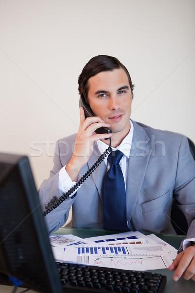 Zakenman bureau telefoongesprek business werk telefoon Stockfoto © wavebreak_media