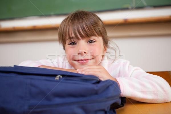 Stockfoto: Cute · schoolmeisje · poseren · zak · klas · meisje