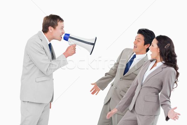 Venditore megafono bianco uomo Foto d'archivio © wavebreak_media