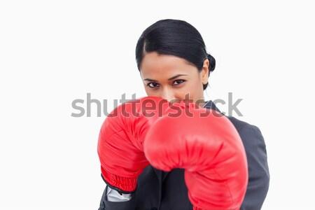 Közelkép agresszív elarusítónő boxkesztyűk fehér üzlet Stock fotó © wavebreak_media