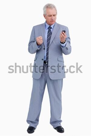 Volwassen naar woedend mobieltje witte Stockfoto © wavebreak_media