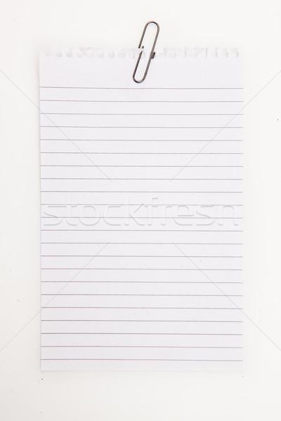 Pusta strona szary spinacz biały papieru pióro Zdjęcia stock © wavebreak_media