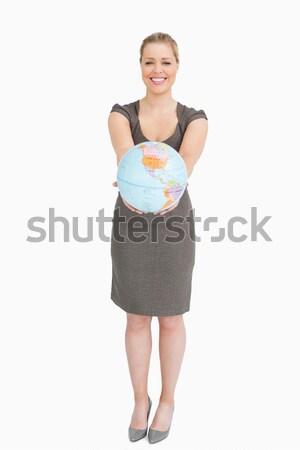 Empresária globo branco mãos cidade Foto stock © wavebreak_media