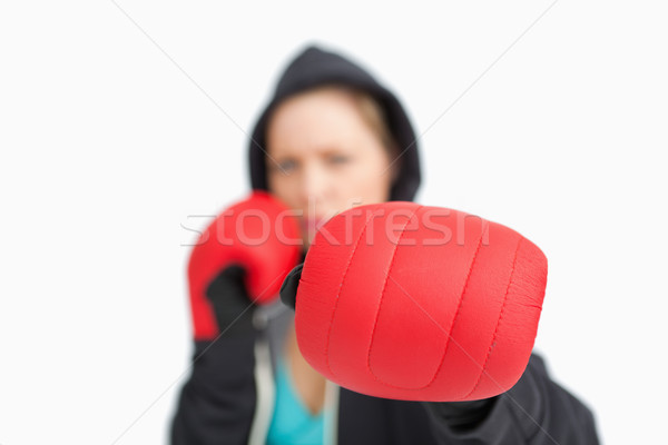 женщину боксерская перчатка белый спорт Сток-фото © wavebreak_media