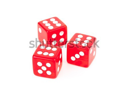 Three red dices against a white background Stock photo © wavebreak_media